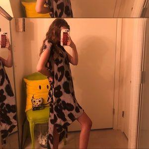 All Saints Silk Leopard High Low Dress